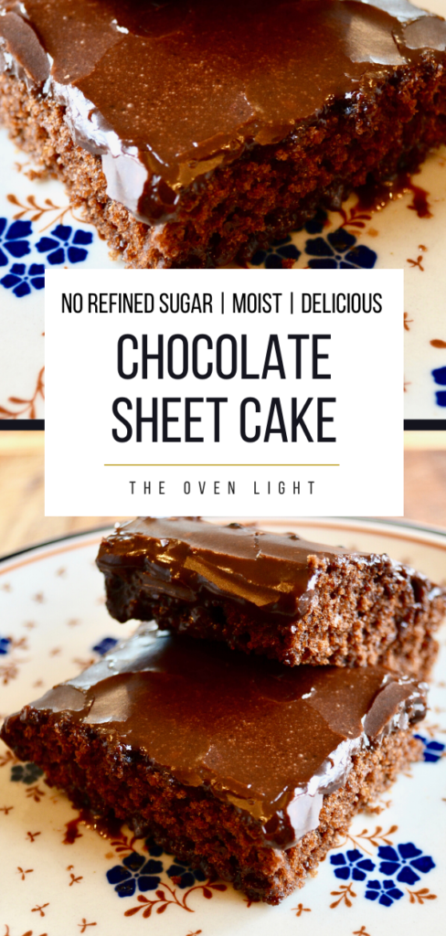 Chocolate Sheet Cake Recipe | Perfectly moist, no refined sugar and seriously delicious. #chocolate #cake #sheetcake #norefinedsugar #icing #moist #delicious