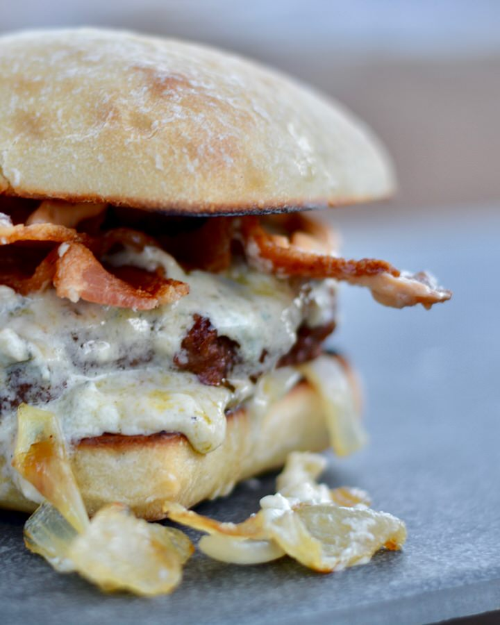 Burger with Cambazola Cheese, Bacon, Caramelized Onions and Chipotle Mayo. THE BEST BURGER RECIPE EVER!