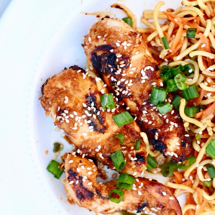 Spicy Chicken Skewers and Cool Soba Noodles | Grilled Chicken tenders on a skewer marinated in an amazing spicy sauce