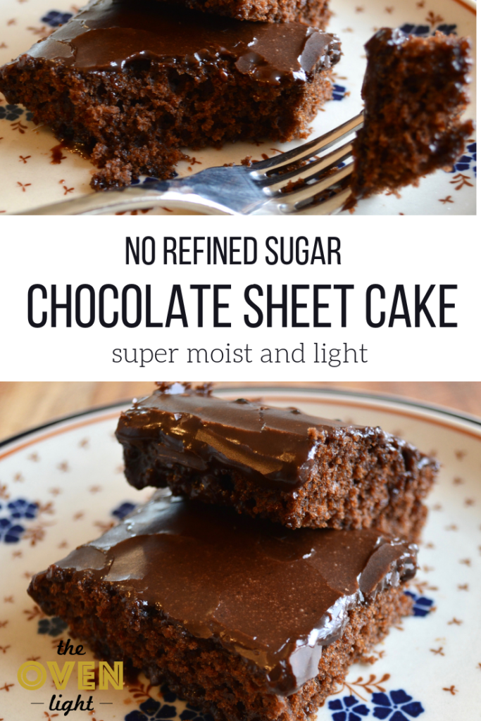 Chocolate sheet cake with no refined sugar. Deliciously moist and quick recipe!