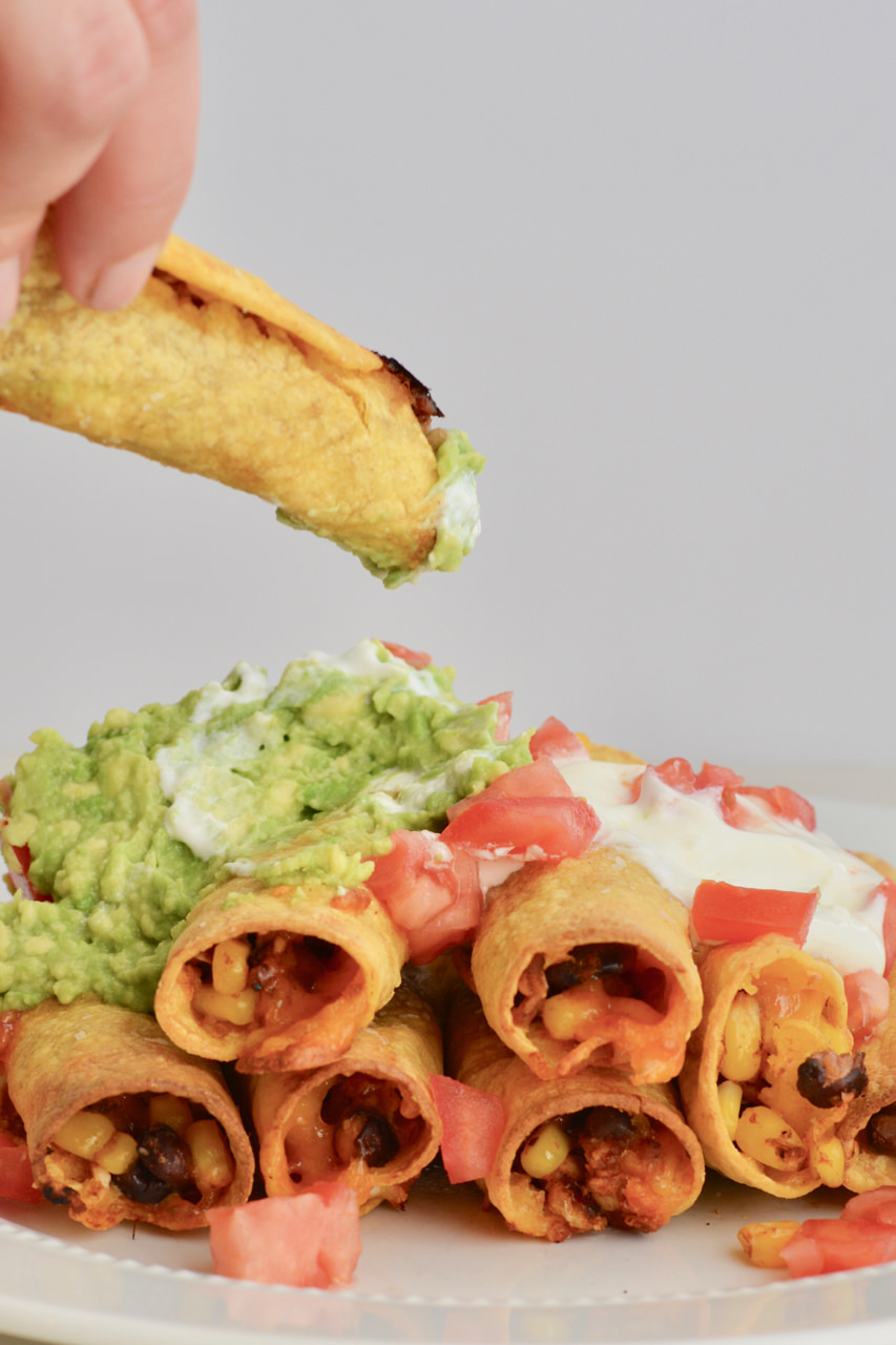 Healthy Baked Make Ahead Taquitos. Fill with anything you have on-hand. Plus, a tip on how to keep your tortillas from tearing.