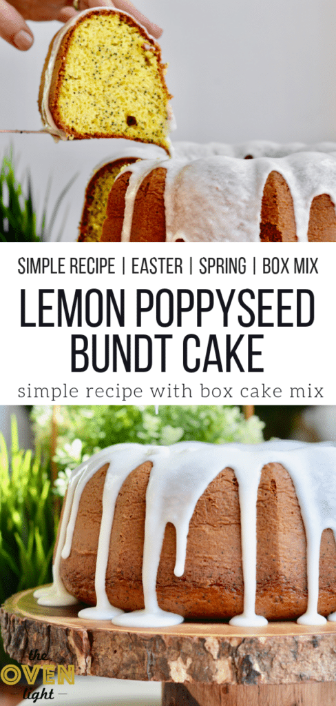 Simple Lemon Poppyseed Bundt Cake made with a box mix - Perfect easy recipe for Spring!