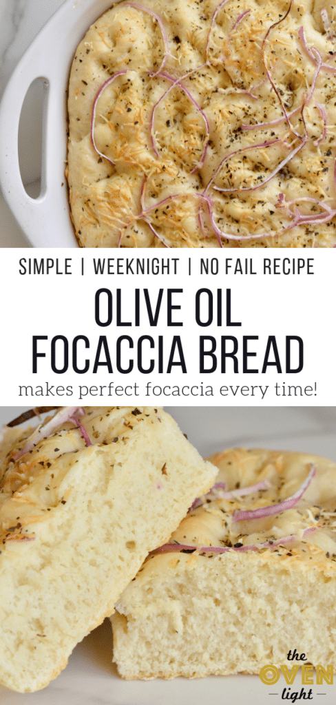 Simple Olive Oil Focaccia Bread - No fail recipe! Easy enough for a weeknight dinner. So fluffy and full of delicious Italian olive oil flavor.