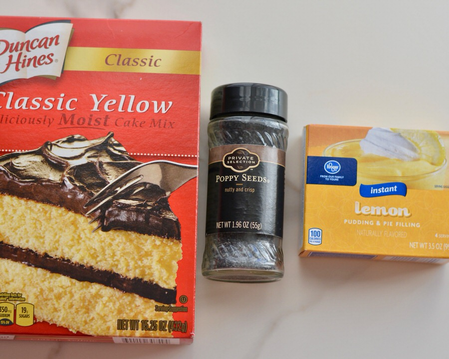 Lemon Poppy Seed Cake | Yellow cake mix, poppy seeds and lemon pudding mix make an amazingly moist and simple cake.