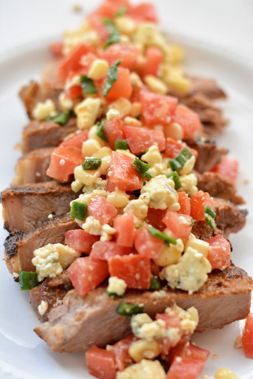 Summer Grilled Steak with Fresh Blue Cheese Salsa. So delicious and easy to prep ahead of time. Perfect for a summer BBQ.