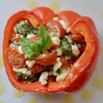 Italian Stuffed Peppers - full of fresh tomatoes, basil and feta. Drizzled with olive oil and salt. So amazing and so simple! Perfect appetizer for your next Italian meal.