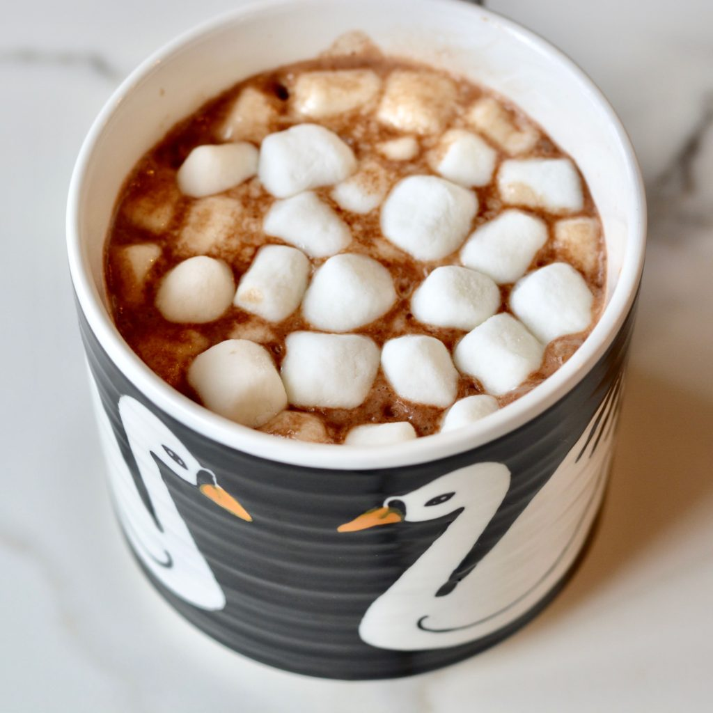 Hygge Hot Chocolate with no dairy. Easy and so delicious. Perfect for cold weather days!