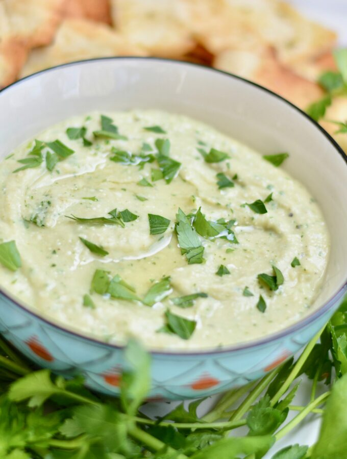Greek Dip made with healthy white beans and feta cheese. Easy to throw together and lasts all week!