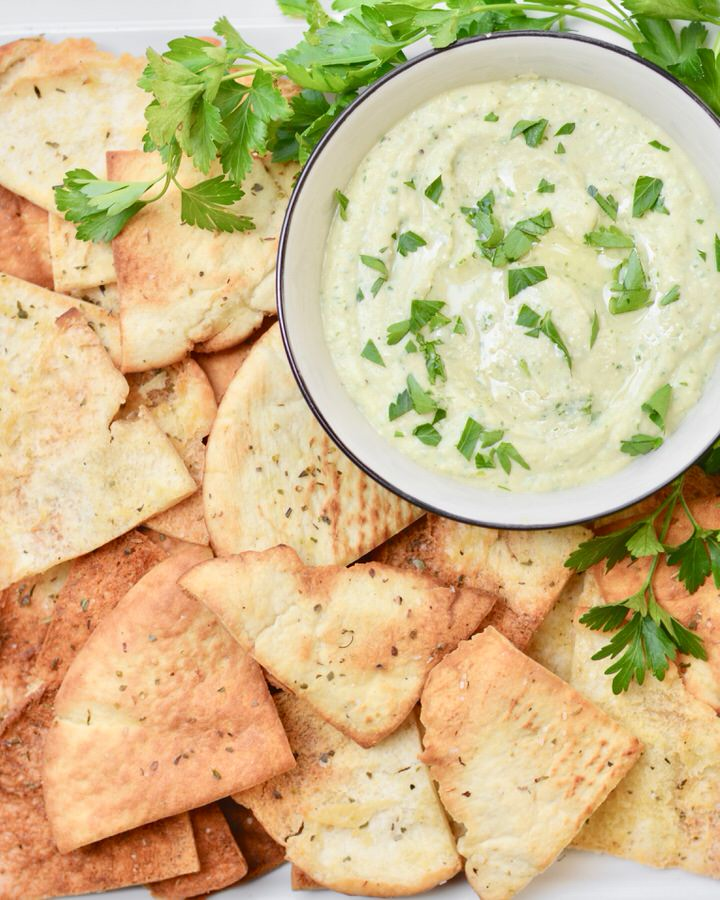 White Bean and Feta Dip with Homemade Baked Pita Chips