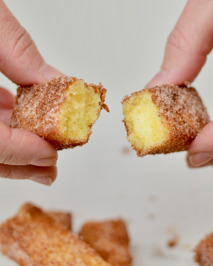 Pound Cake Churros   Simple decadent recipe. Dip it in chocolate sauce!