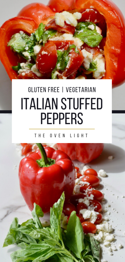 Healthy Italian Stuffed Peppers | Gluten Free Vegetarian appetizer or lunch. So fresh and delicious and easy to throw together. Cherry tomatoes, feta cheese, basil and olive oil stuffed into a red pepper and heated through. Absolutely delicious! #pepper #italian #tomatoes #fetacheese #basil #oliveoil #appetizer #lunch #vegetarian #glutenfree