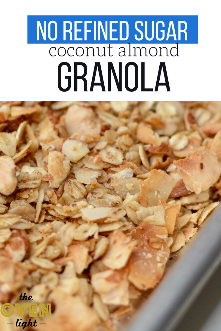 Granola made with coconut oil and zero refined sugar! Great base recipe, you can add in whatever you like!