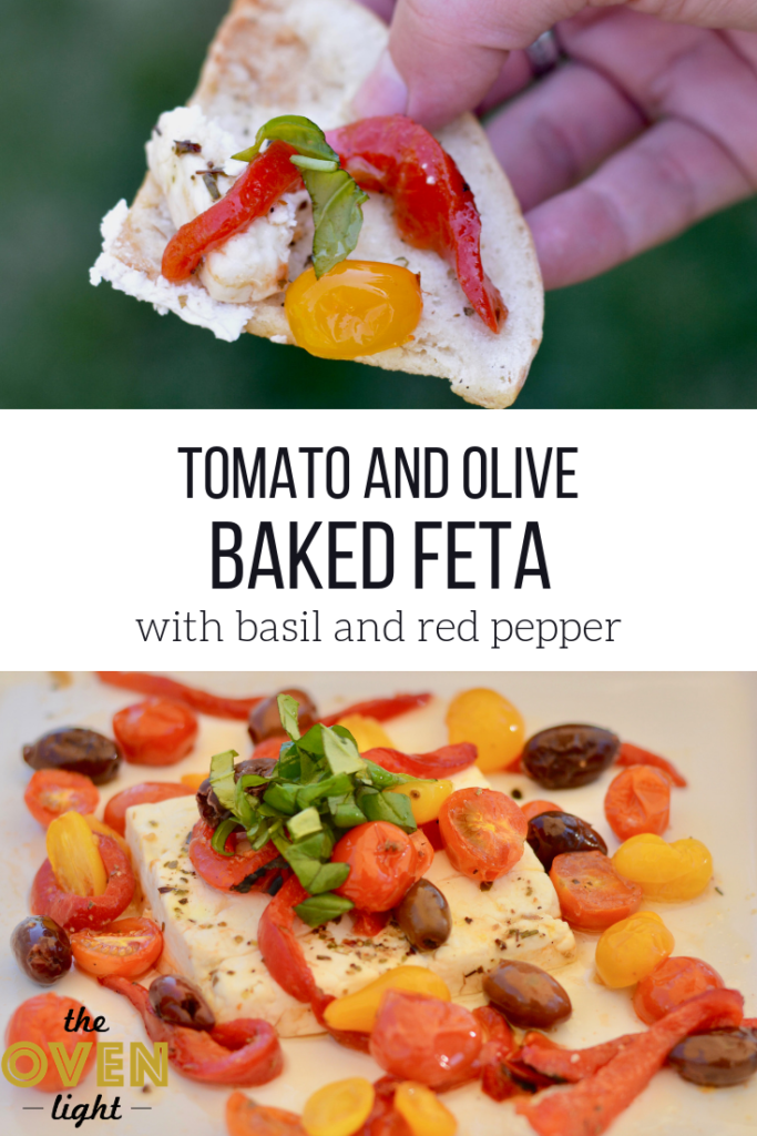 Tomato and Olive Baked Feta with Basil and Red Pepper - Pairs perfect with homemade baked pita chips