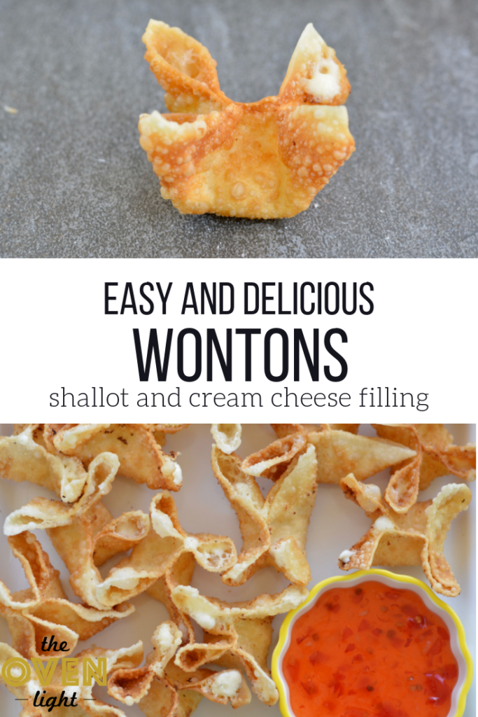 Easy and Delicious Wontons made with Shallot and Cream Cheese Filling