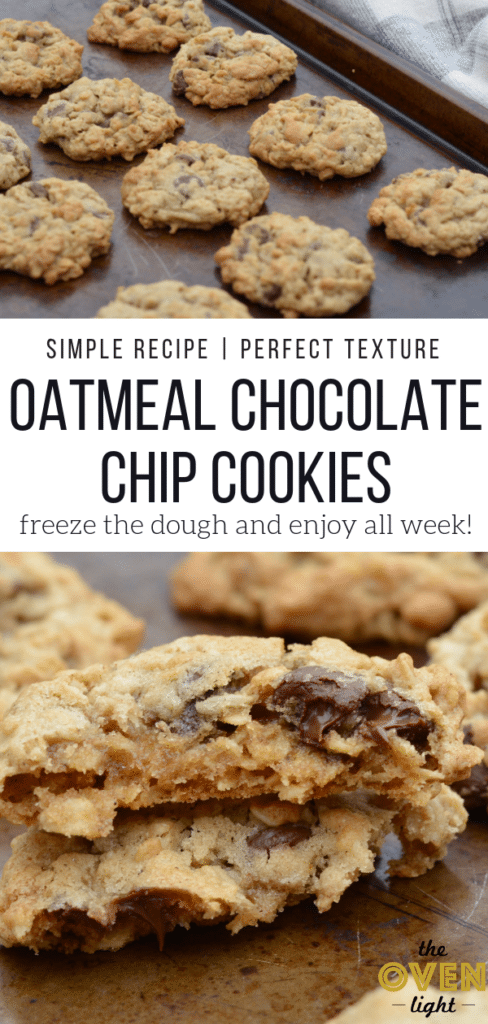 Oatmeal Chocolate Chip Cookies - Simple Recipe and Perfect Texture. Mix up the dough and freeze so you can have warm cookies every night this week!