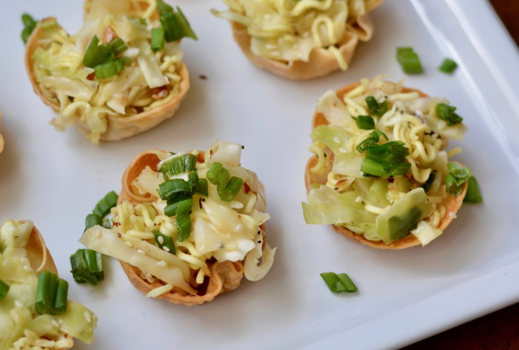 Asian Sumi Salad in Baked Wonton Cups - Vegetarian Appetizer