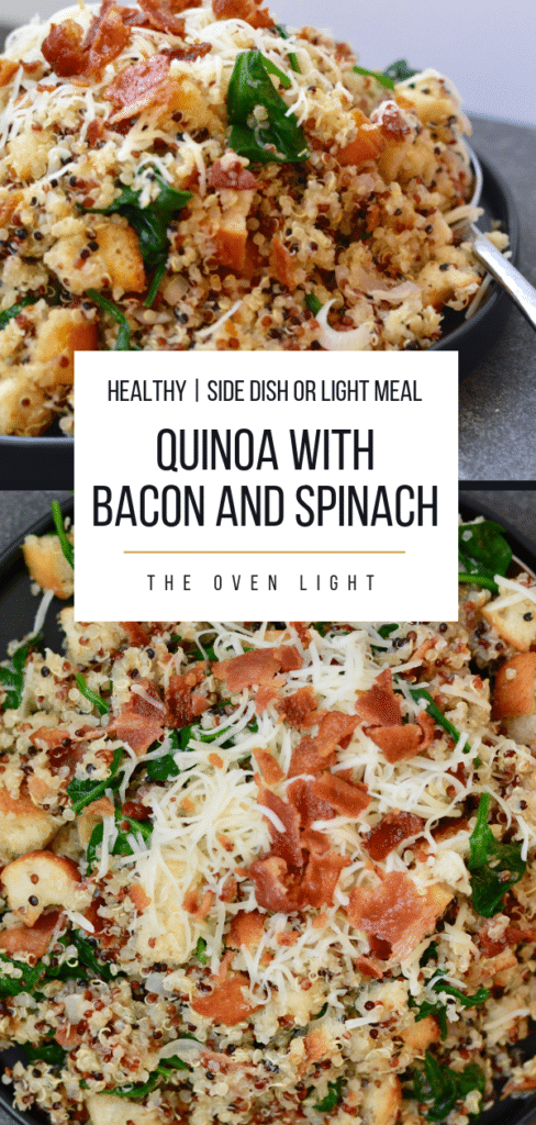 Quinoa with Bacon and Spinach - amazing side dish or make a great light meal. Prep ahead of time and throw together before serving. SO GOOD!