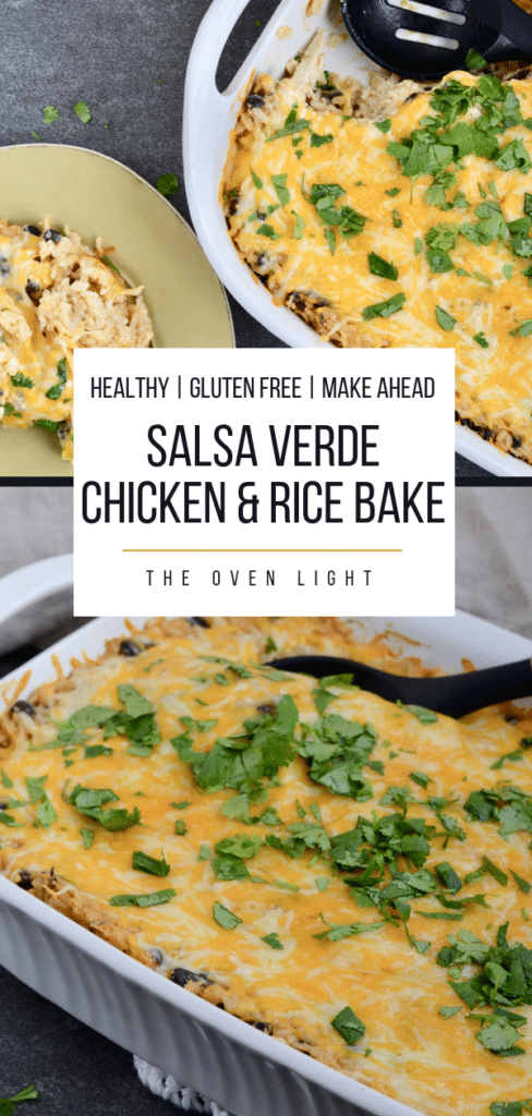 Salsa Verde Chicken and Rice Bake - brown rice, chicken, black beans and plenty of flavor. So simple to throw together. Perfect weeknight meal!