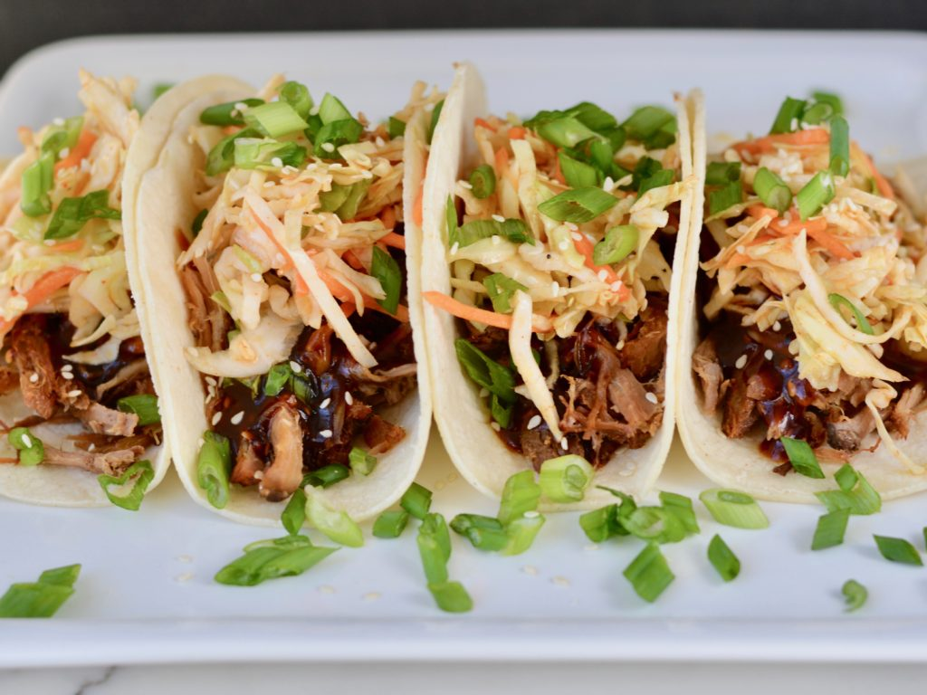 Korean BBQ Tacos with Quick Kimchi and Pulled Pork. Easy weeknight recipe.