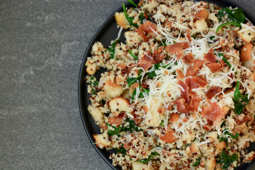 Quinoa Spinach and Bacon with Breadcrumbs Side Dish