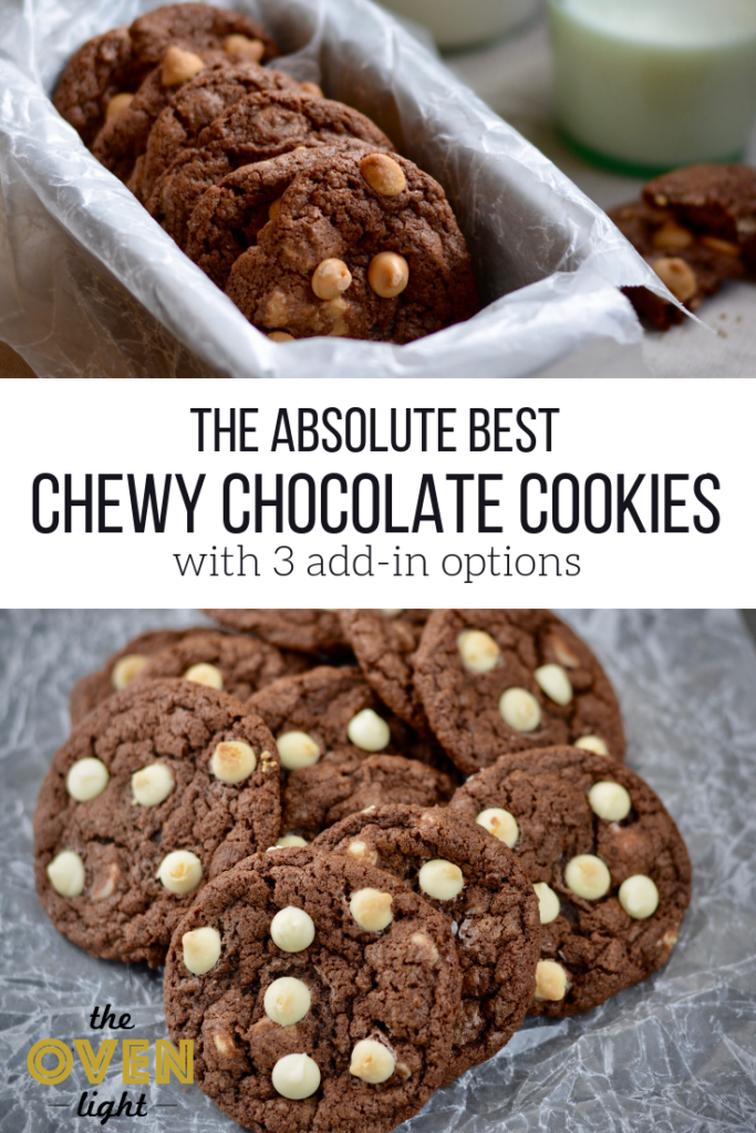The absolute best chewy chocolate cookies with 3 add in options! Separate your dough and make everyone's favorite cookie at once!