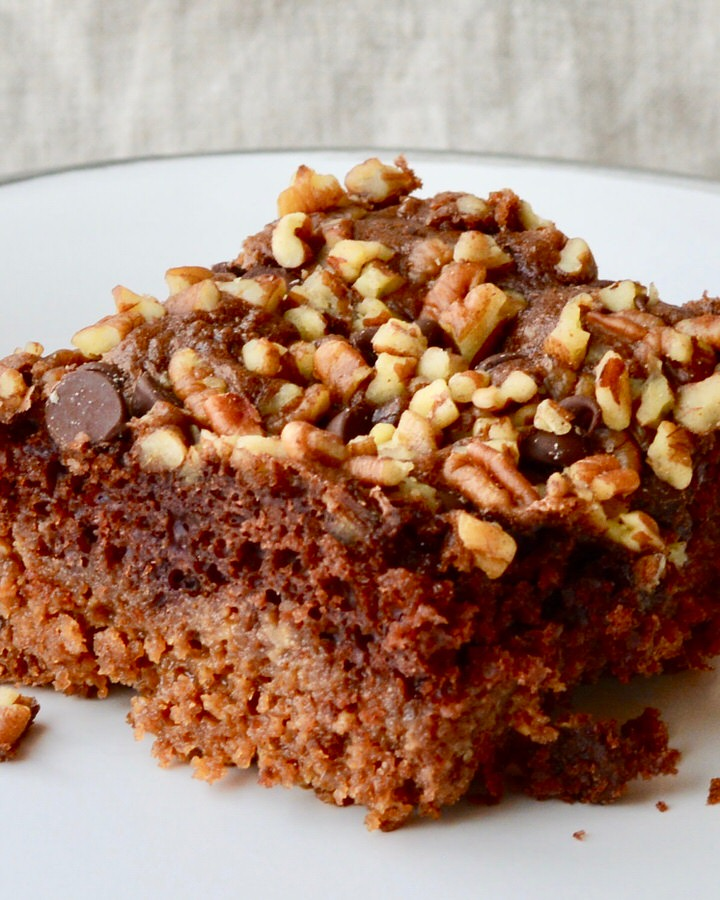 Chocolate Caramel Cake with chocolate chips and pecans - rich and decadent and super easy to make!