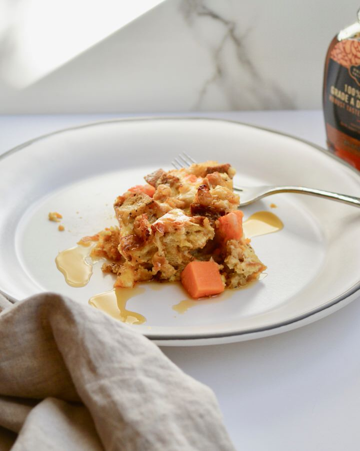 Breakfast Strata with Sweet Potatoes, chicken sausage and Multigrain Bread. Hearty and Healthy! Perfect weekend breakfast. Make ahead the night before and then just pop in the oven!