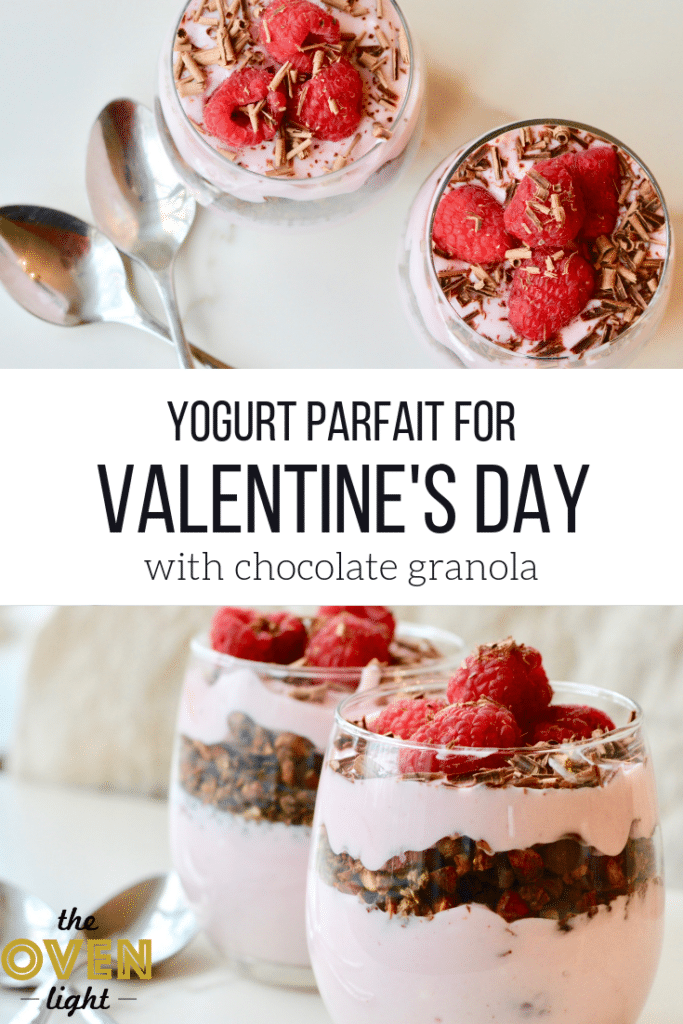 Raspberry and chocolate parfait - easy to throw together for Valentine's Day with chocolate shavings and fresh raspberries with chocolate granola. So simple and SO delicious!