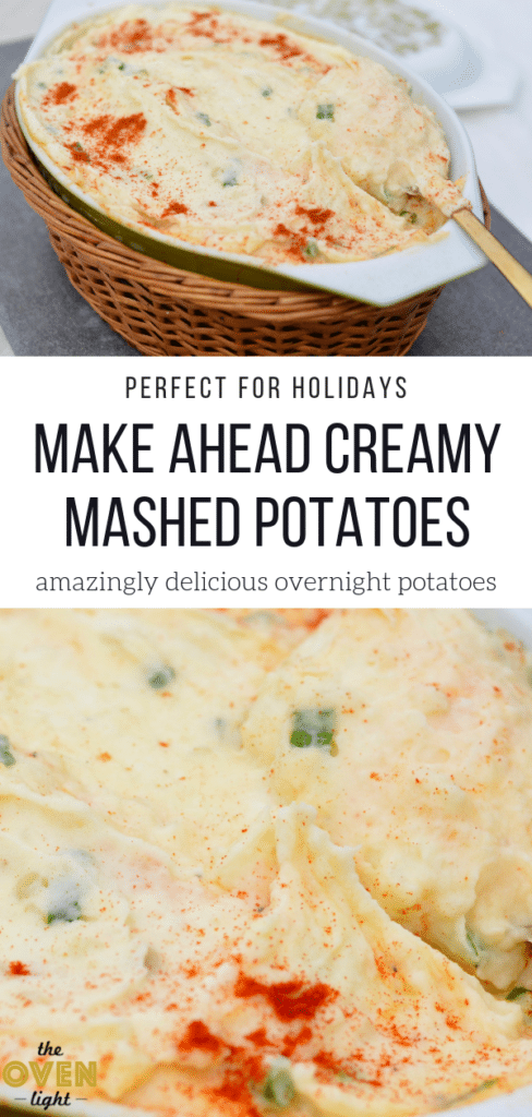 Creamy Mashed Potatoes - Make ahead dish perfect for holidays. So creamy and flavorful and super simple to throw together the day before! I love how easy this recipe is!