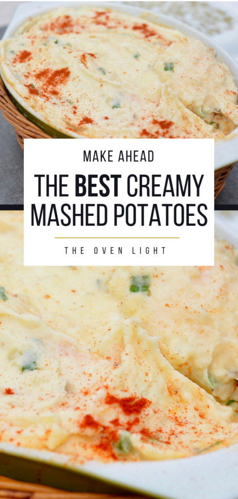 Creamy Mashed Potatoes - Amazing make ahead dish perfect for holidays. So creamy and flavorful and super simple to throw together the day before! I love how easy this recipe is! #mashedpotatoes #makeahead #thanksgivingpotatoes #easterpotatoes #creamypotatoes