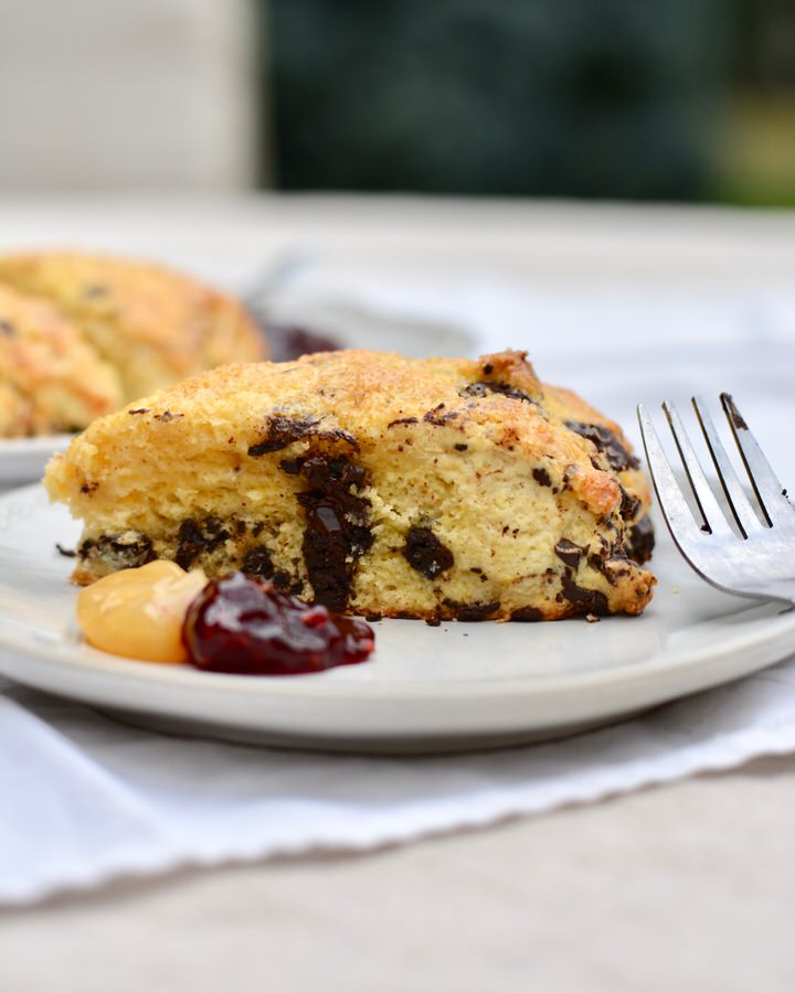 Orange Chocolate Chunk Scones | Delicious, perfect scone texture with chunks of dark chocolate.