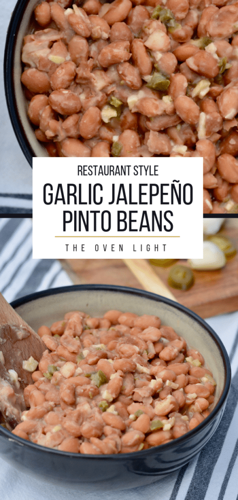 Garlic Jalapeño Pinto Beans - restaurant quality with only a few minutes of hands-on time. Delicious vegetarian side dish for any meal!