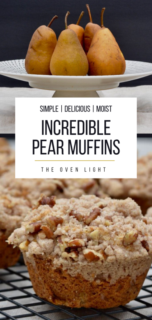 Incredible Pear Muffin Recipe - Simple, delicious and moist recipe to use up those leftover pears! Perfect balance of pear and cinnamon flavors.