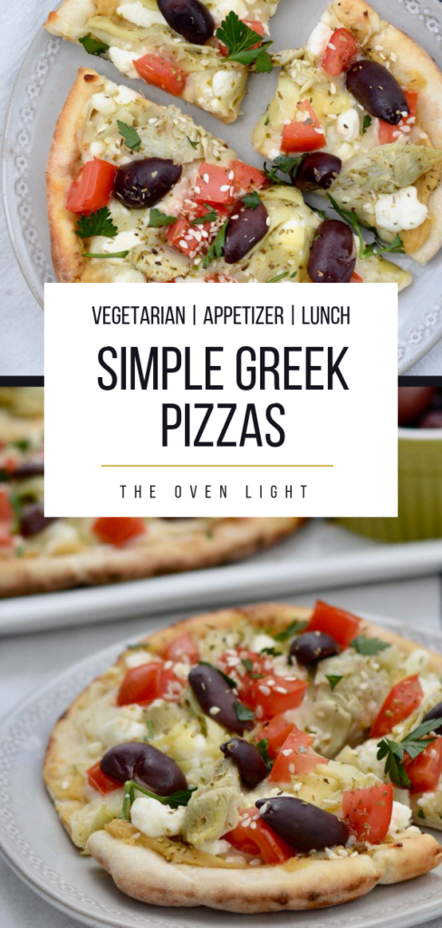 Easy Greek Pizza Recipe - Hummus, Feta, Tomatoes, Kalamata Olives, Artichoke Hearts, and olive oil. Looking for Vegetarian Lunch Ideas? This one is perfect!