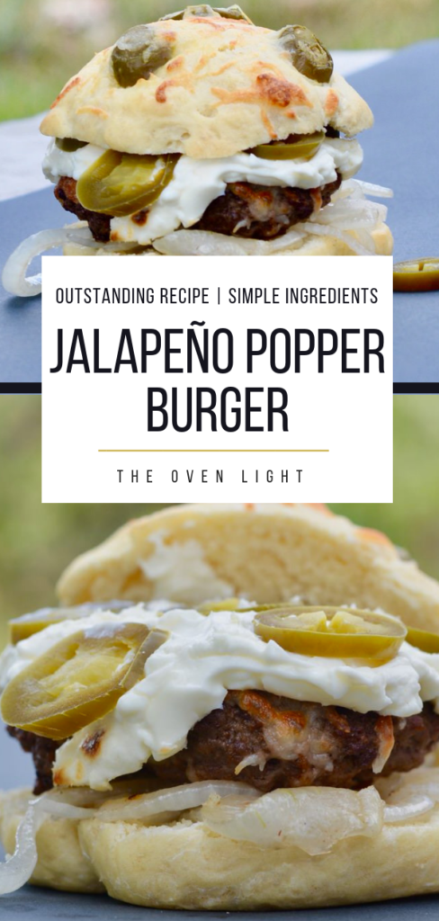 Jalapenño Popper Hamburger - cream cheese, mozzarella, onions and jalapeños. So easy and seriously so delicious! I've never had a burger so simple taste so amazing! #hamburger #jalapeños #creamcheese #jalapeñopopper #burgerrecipe #grillingrecipe #burger #theovenlight