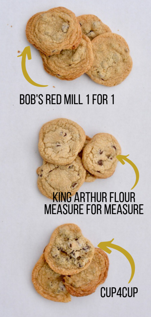Gluten Free Flour Comparison Test | Cup4Cup vs. Measure for Measure vs. Bob's Red Mill 1 for 1 gluten free flours. Chocolate chip cookie test!