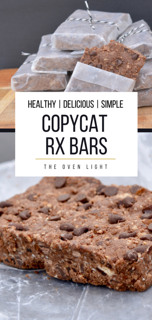 Rx Bar Copycat Recipe - Healthy, delicious and super easy to make. Chocolate, cashews, almonds, egg white powder and dates. So delicious and so simple! Plus, a huge money saver! #healthy #chocolate #kidsrecipe #copycat #rxbar